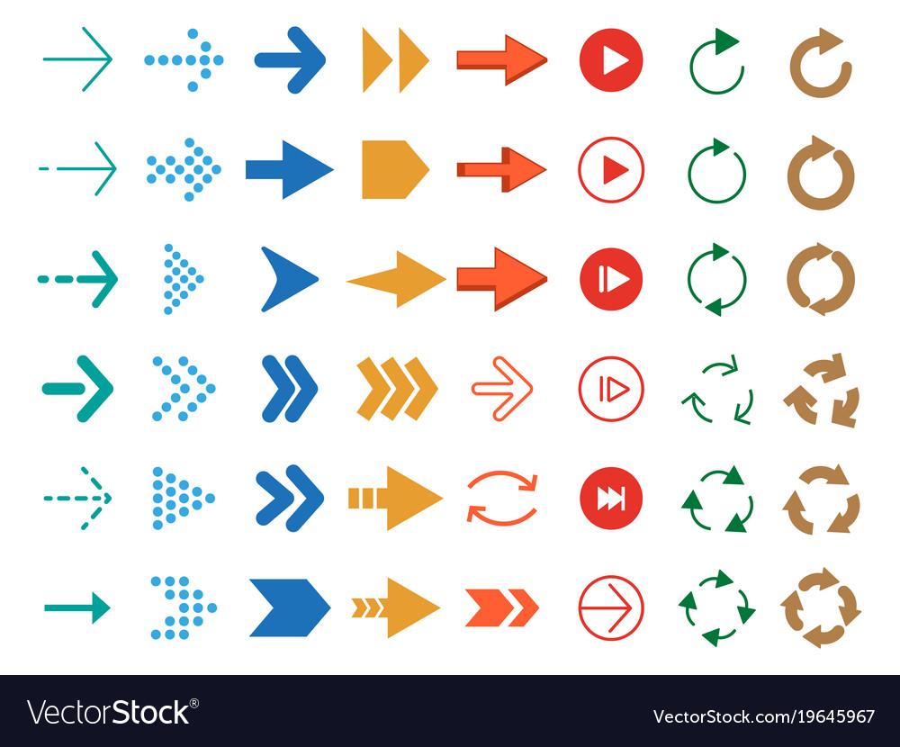 Modern colored arrows icon set