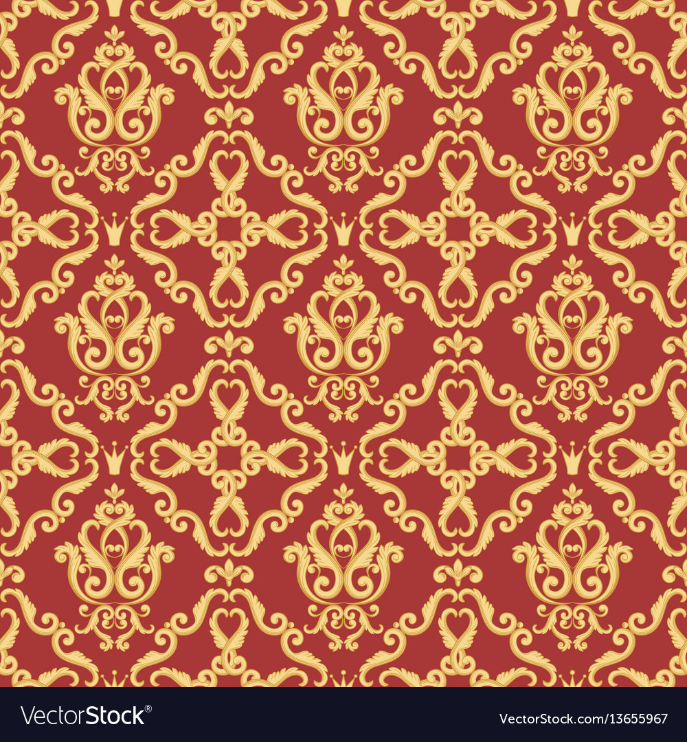 Seamless damask pattern gold and red texture