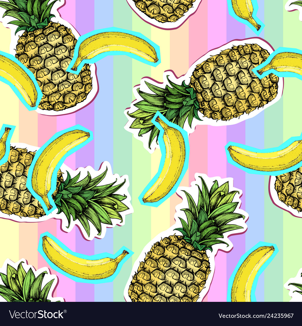 Summer seamless bright pattern with pineapple