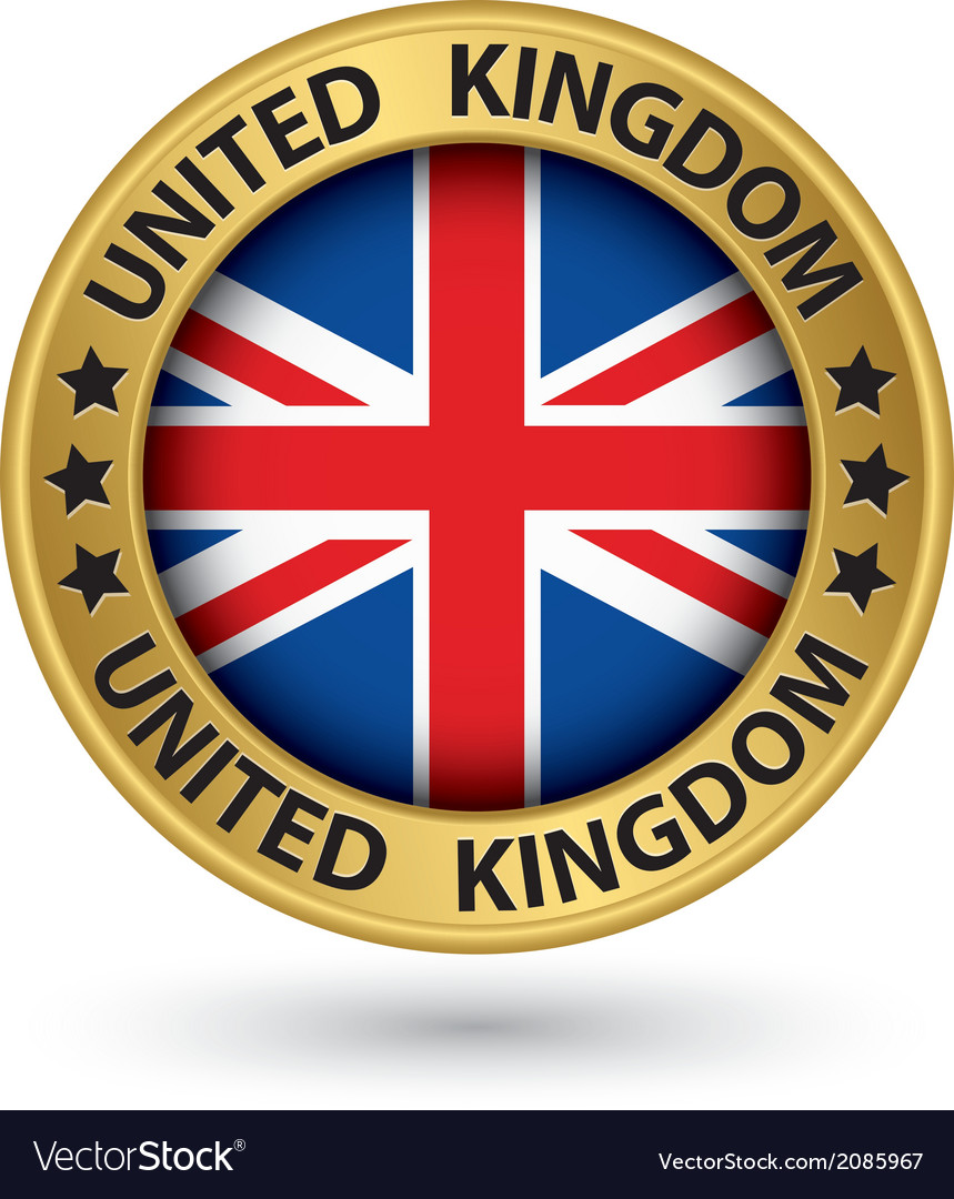 United kingdom gold label with flag