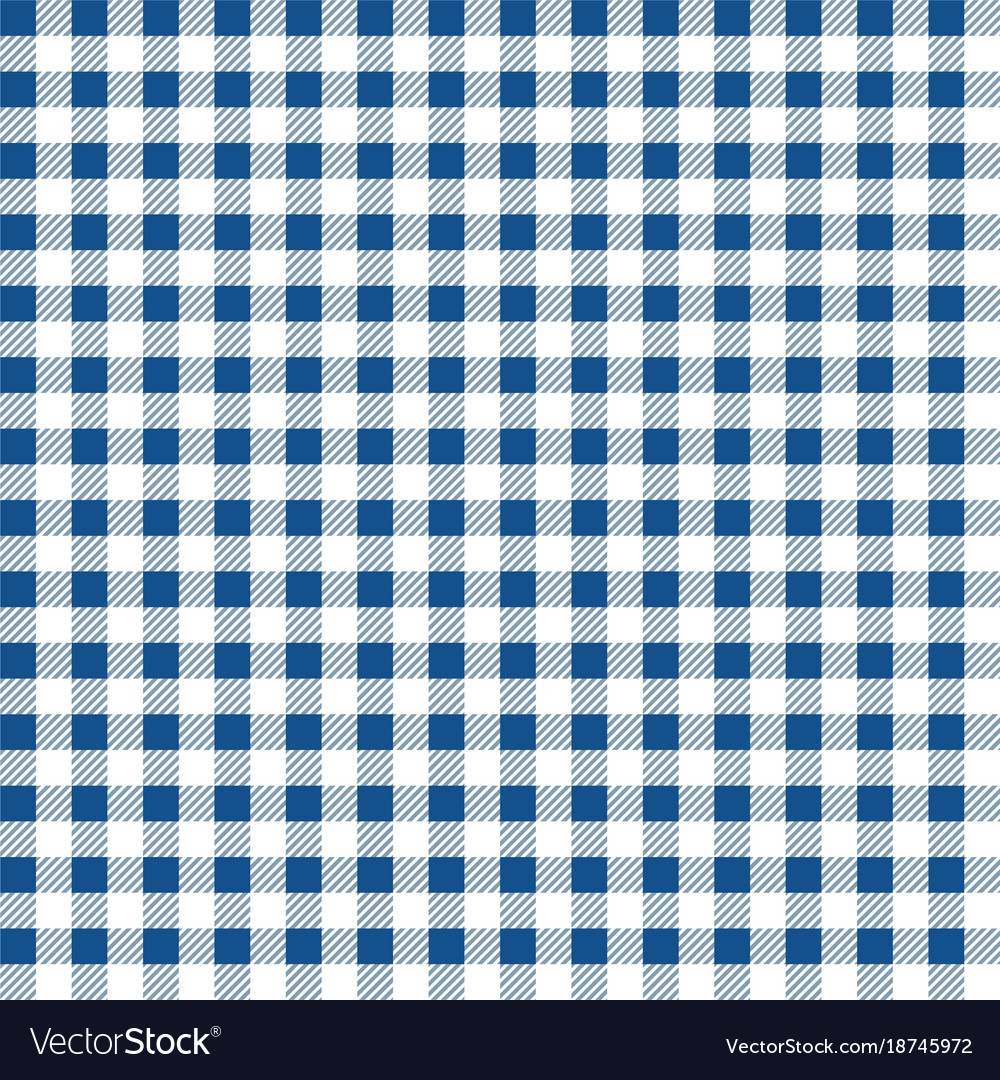 Superbe Blue And White Gingham Tablecloth Seamless Pattern Vector Image