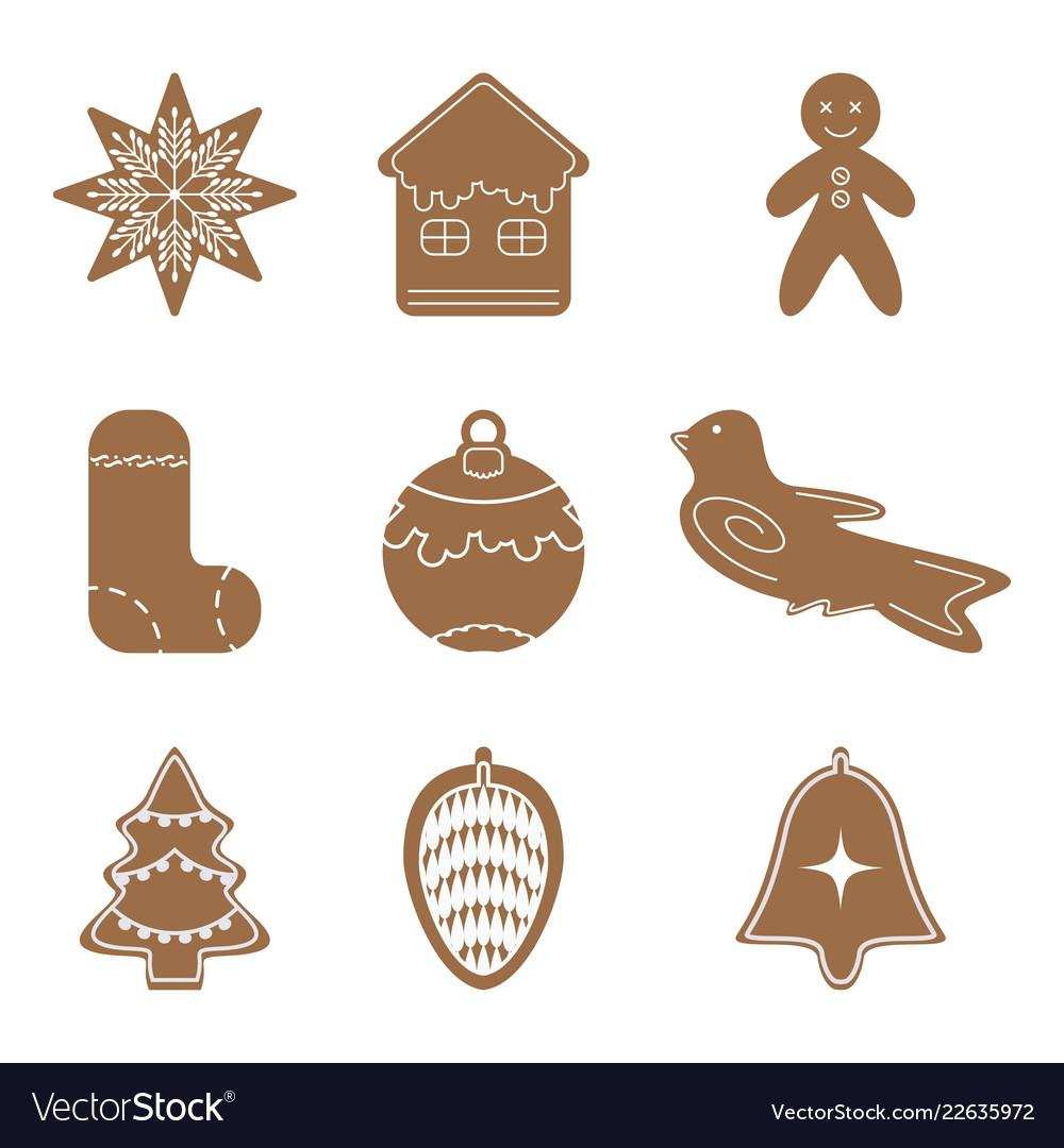 Cartoon cookies christmas gingerbread set icon