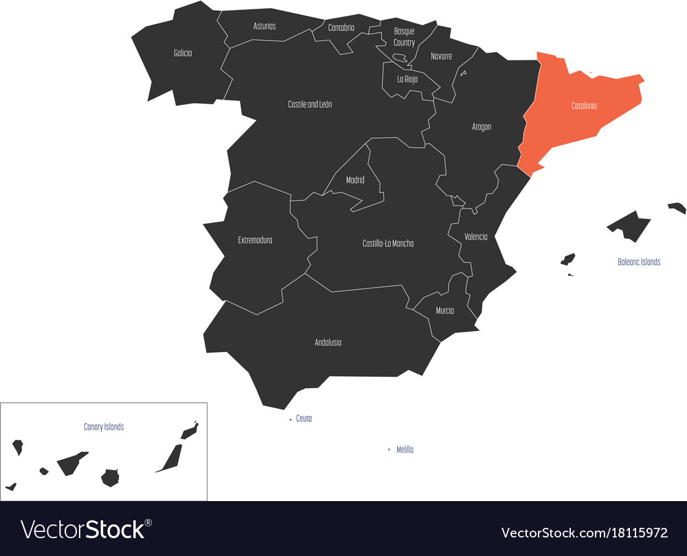 Catalonia Region In A Map Of Spain Royalty Free Vector Image