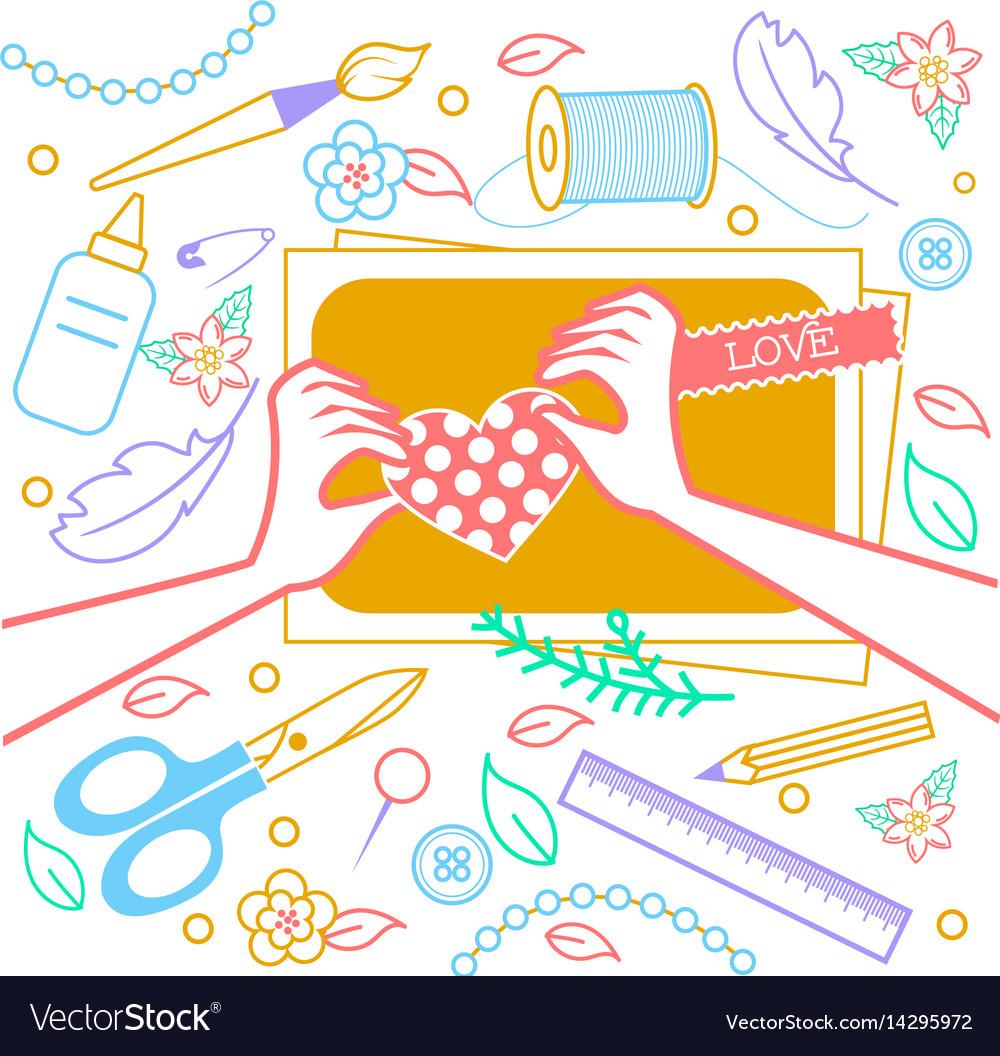 Con for creativity scrapbooking vector image