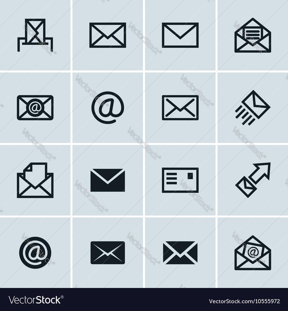 Mail icons set of 16 e-mail symbols