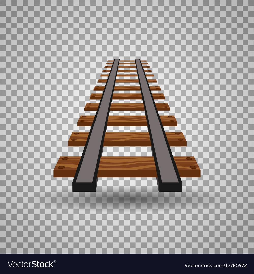 Railway tracks or rail road line on transparent