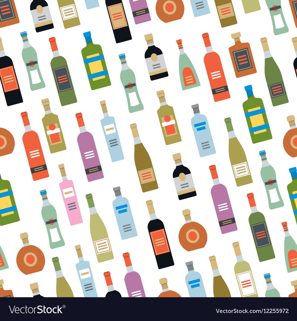 Seamless pattern with alcohol bottles