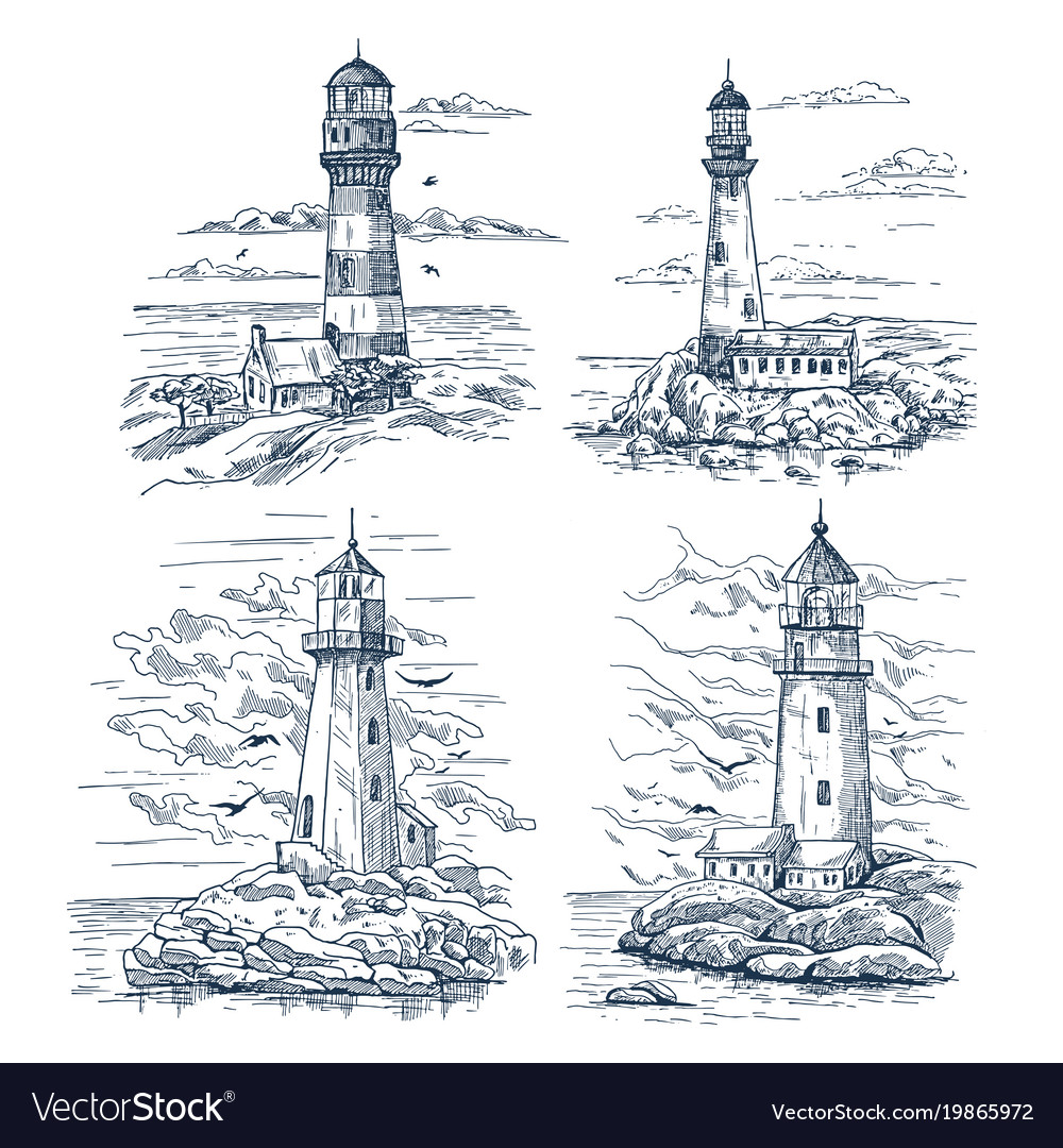 Sketches with lighthouse on island at sea or ocean