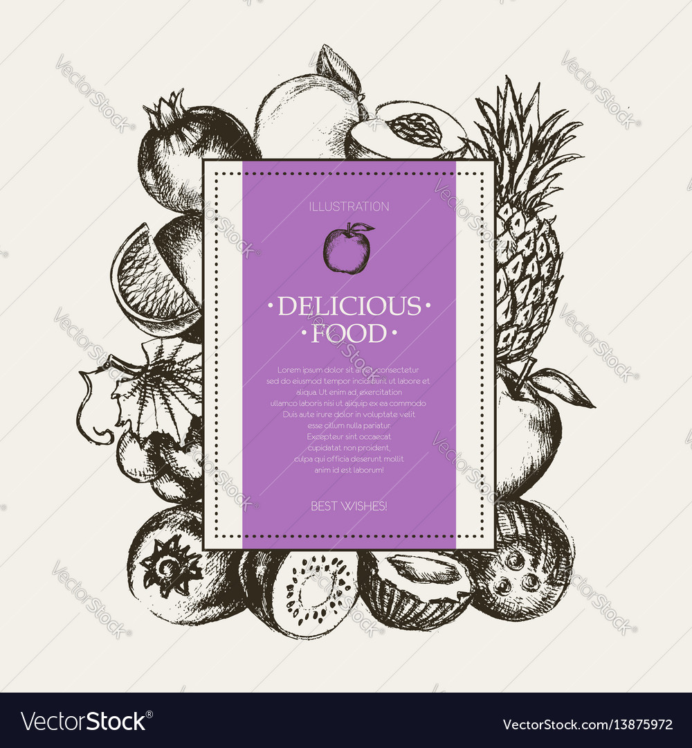 Square fruit frame - hand drawn design vector image