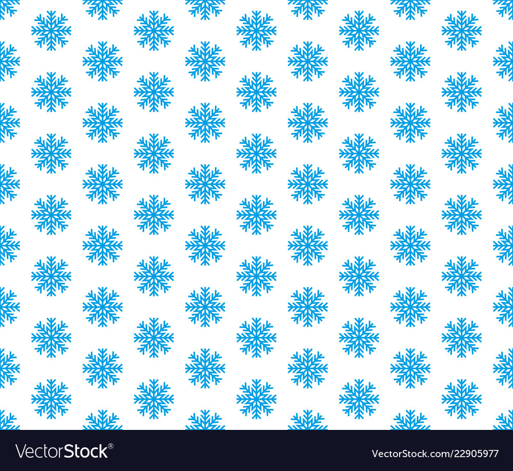 Blue snowflake seamless pattern and