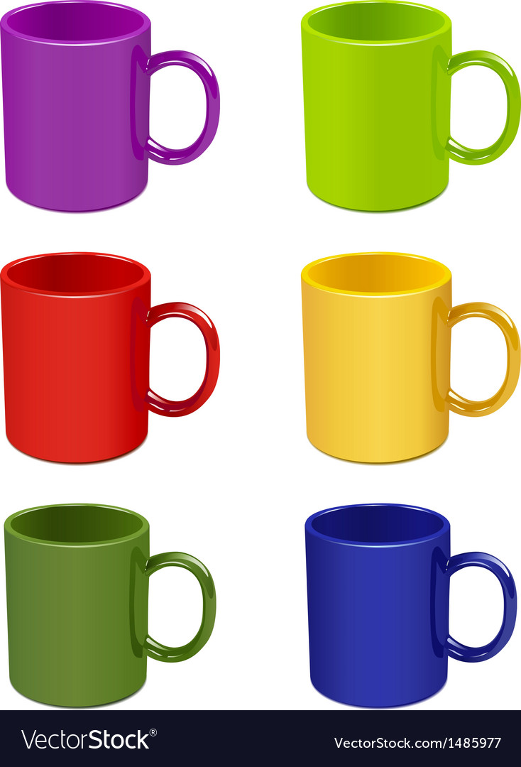 Colored Cups Vector Image