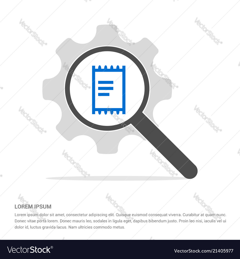 Document icon search glass with gear symbol icon