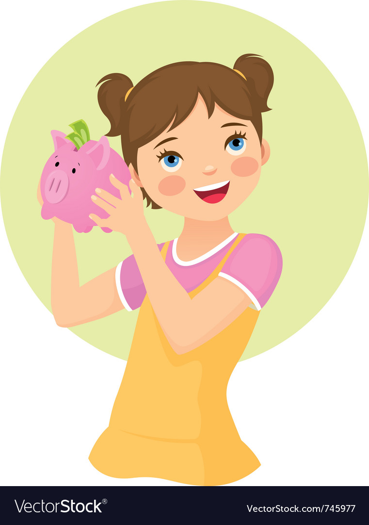 Girl holding money box vector image