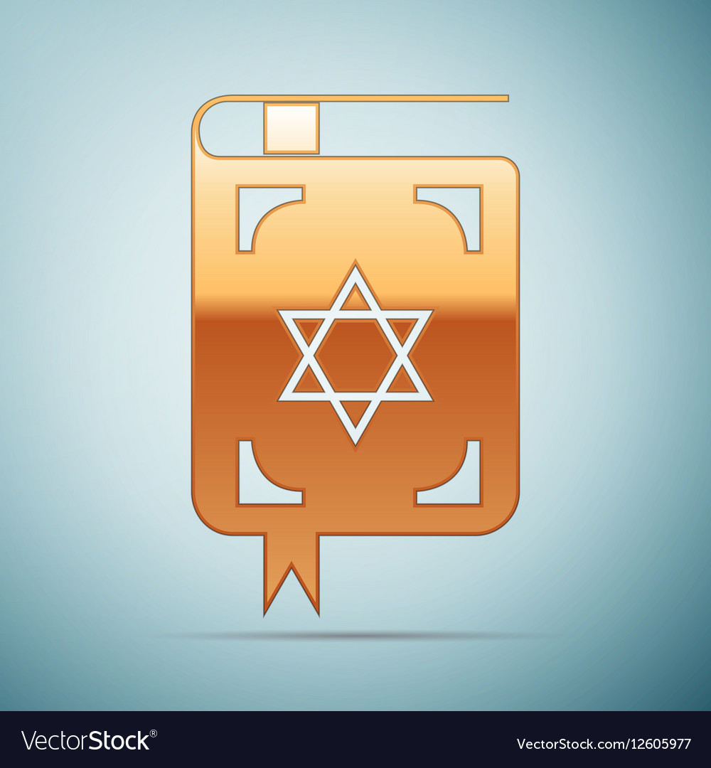 Gold Jewish torah book icon on blue background vector image