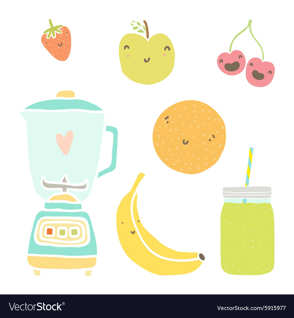 Hand drawn isolated fruits blender and