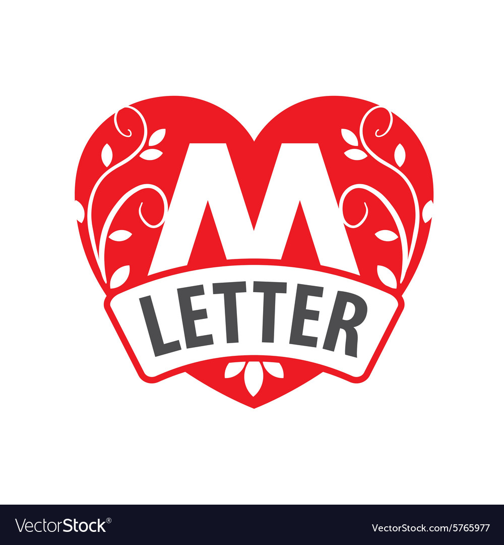 Logo in the shape of a heart with the letter M