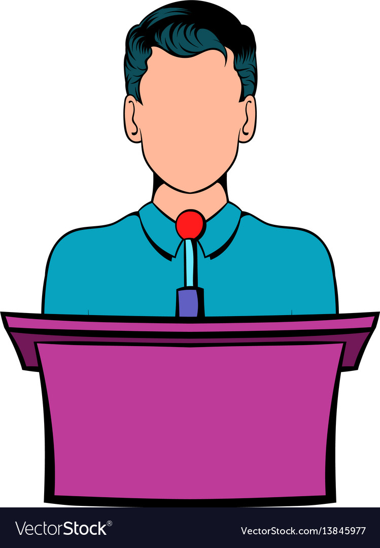 Orator speaking from tribune icon cartoon vector image