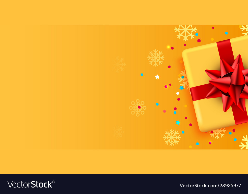 Present golden box with red ribbon holiday card