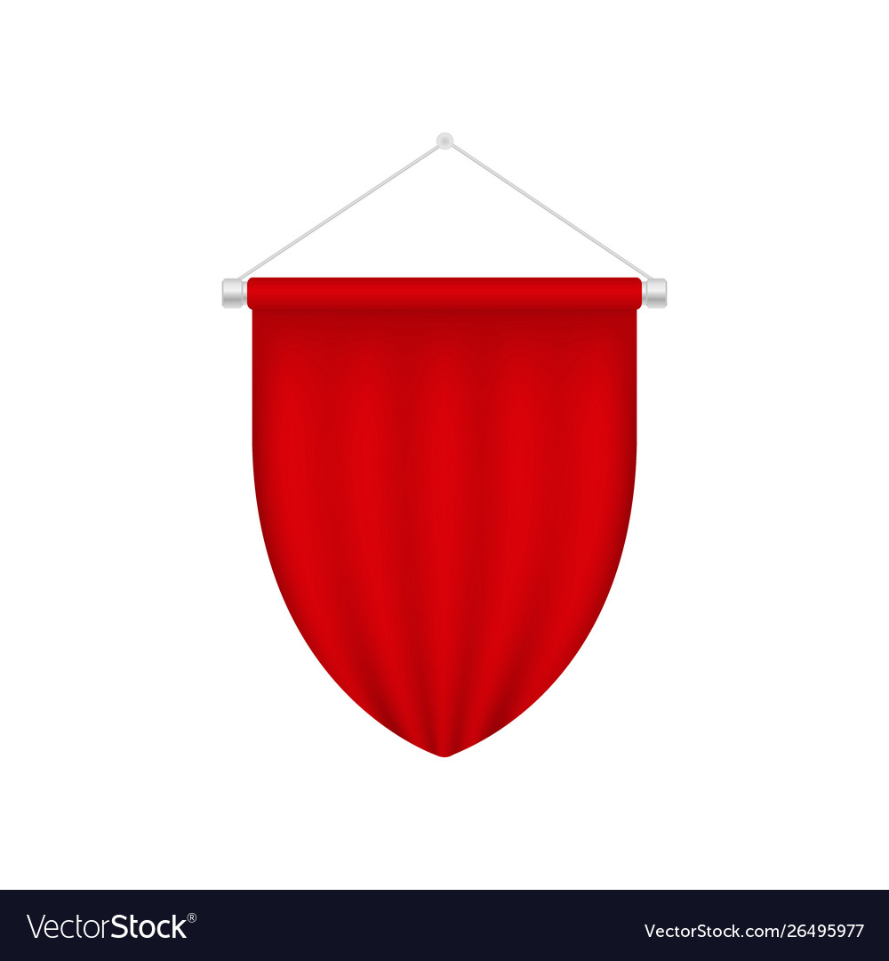 Realistic blank pennant template red blank 3d