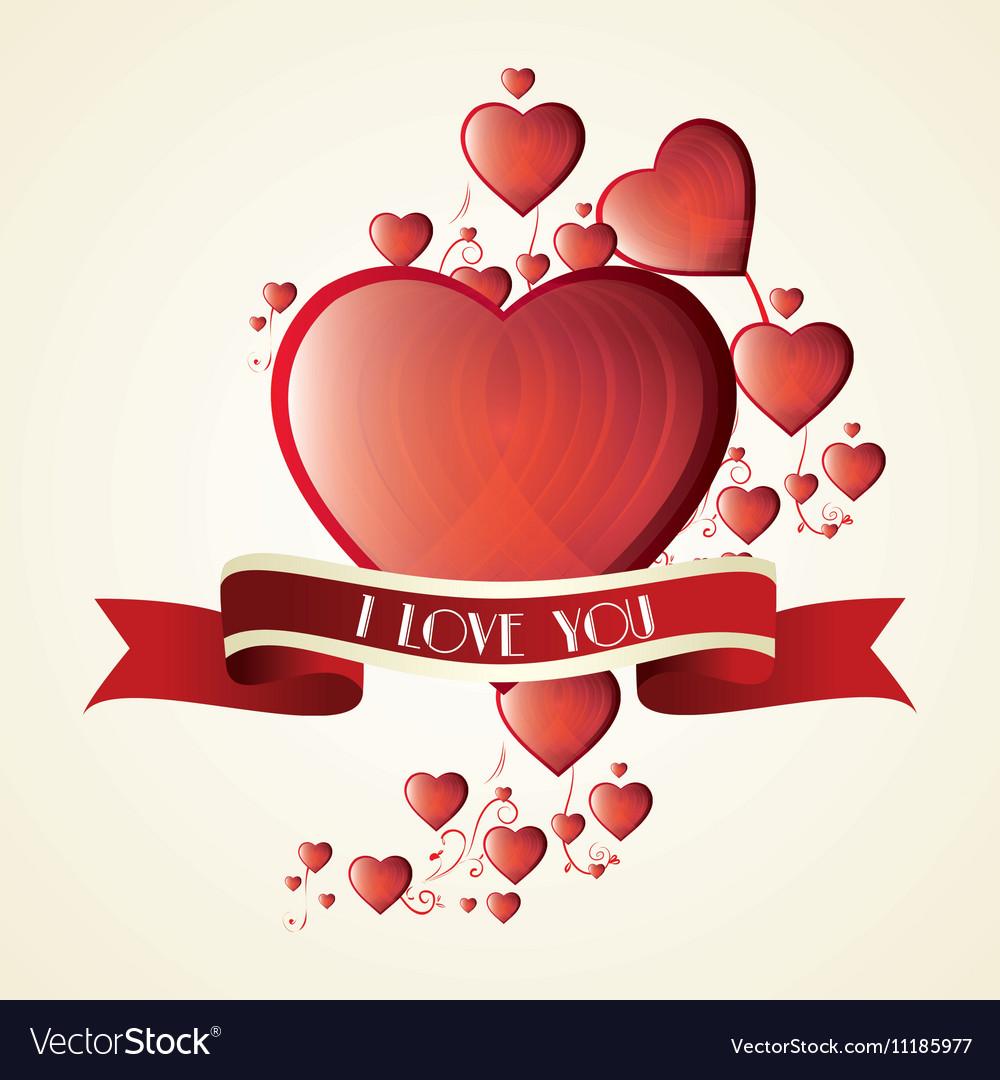 Romantic card i love you label