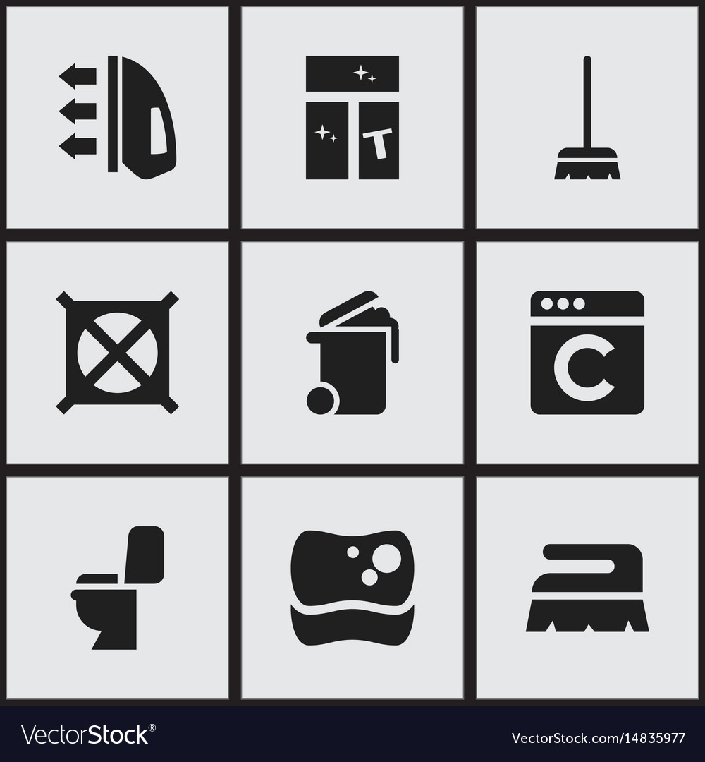 Set of 9 editable cleanup icons includes symbols