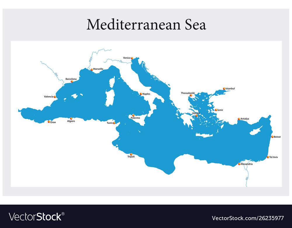 Small outline map mediterranean sea