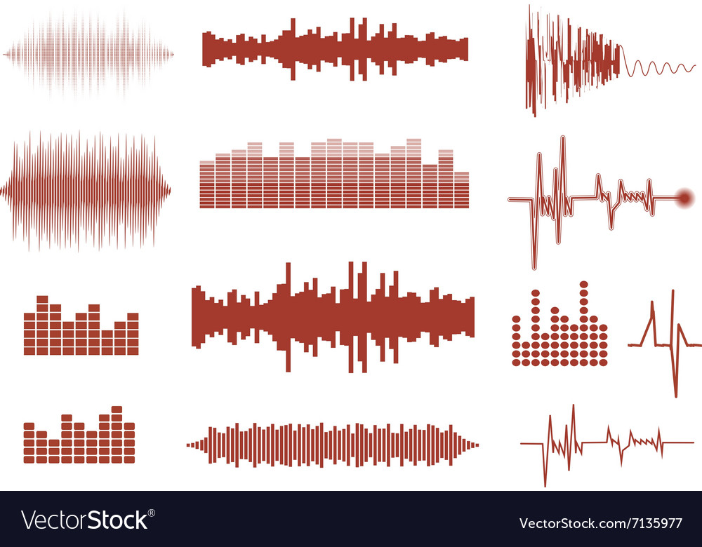 Sound waves set Music waves icons Audio