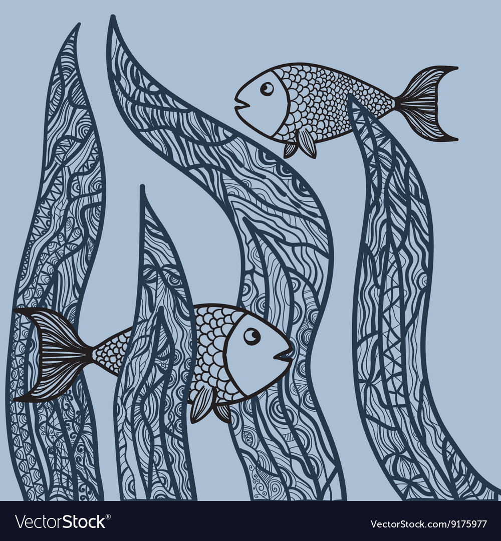 Two fishes in sea weed Adult antistress coloring vector image