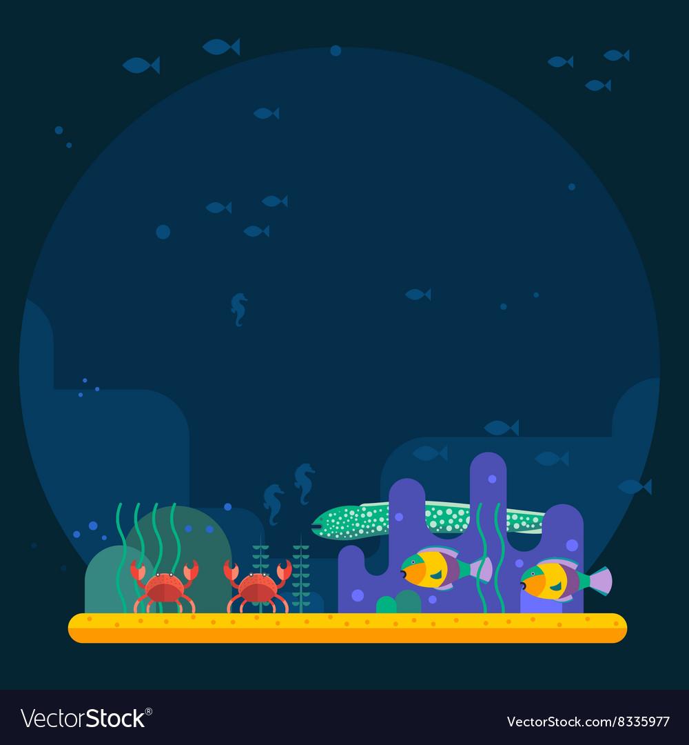 Underwater background coral garden with glossy