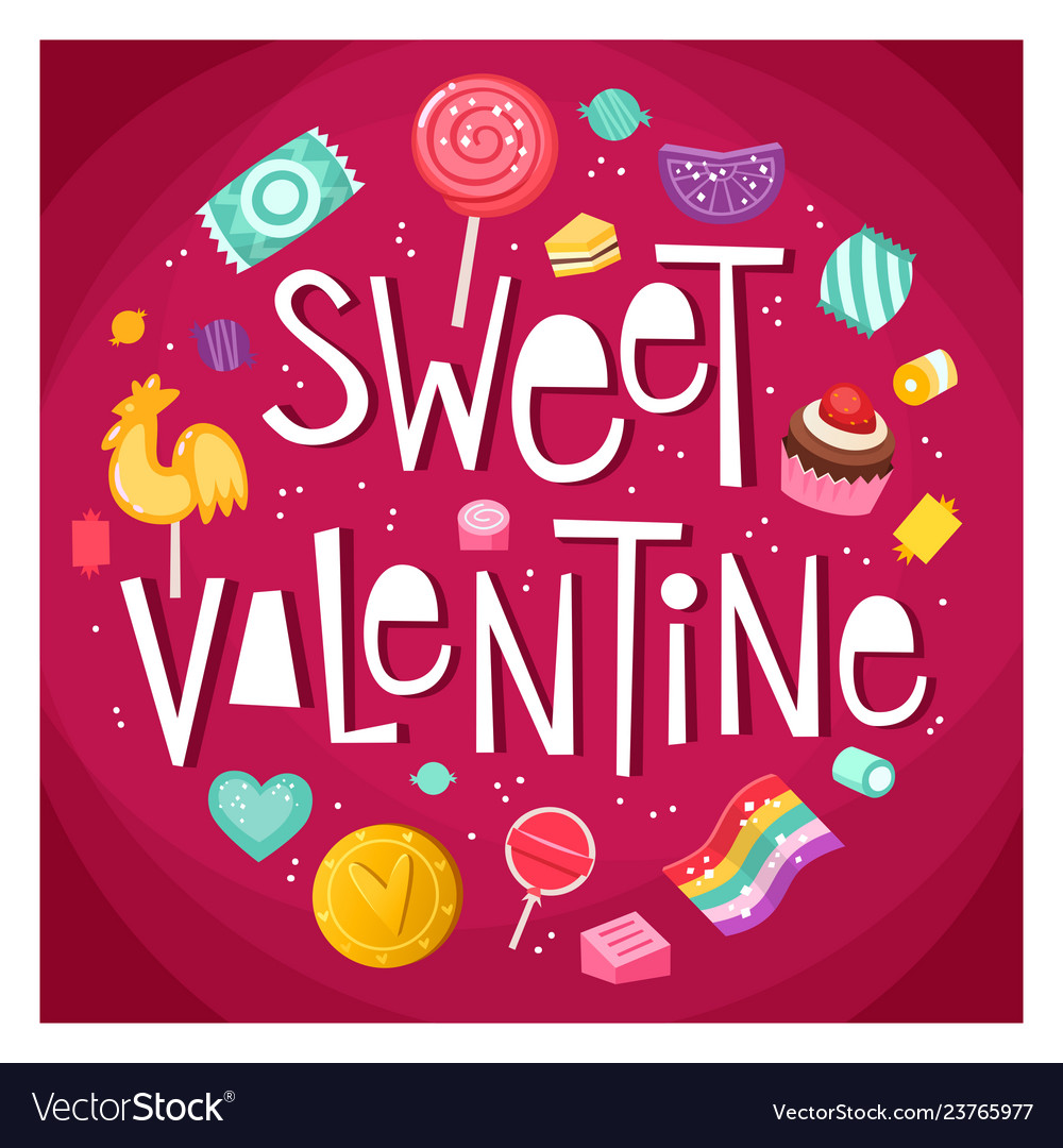Valentine day sticker with sweets