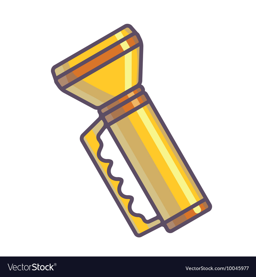 Yellow flashlight vector image