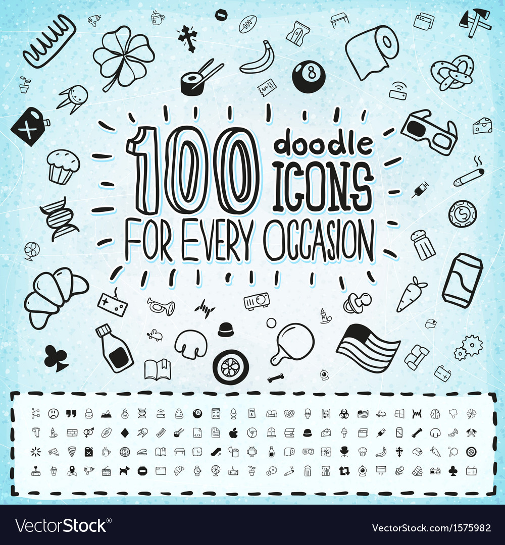 100 Doodle Icons Universal Set