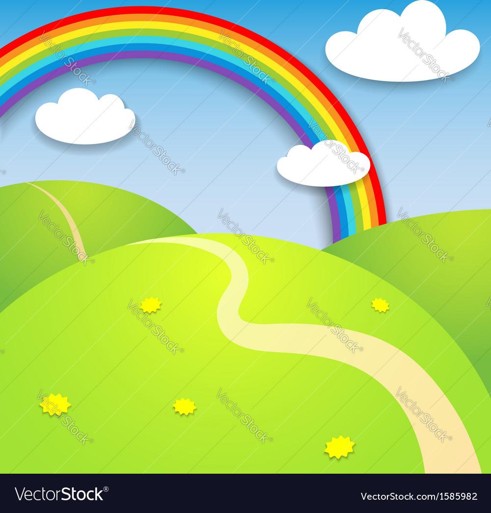Beautiful summer landscape with rainbow