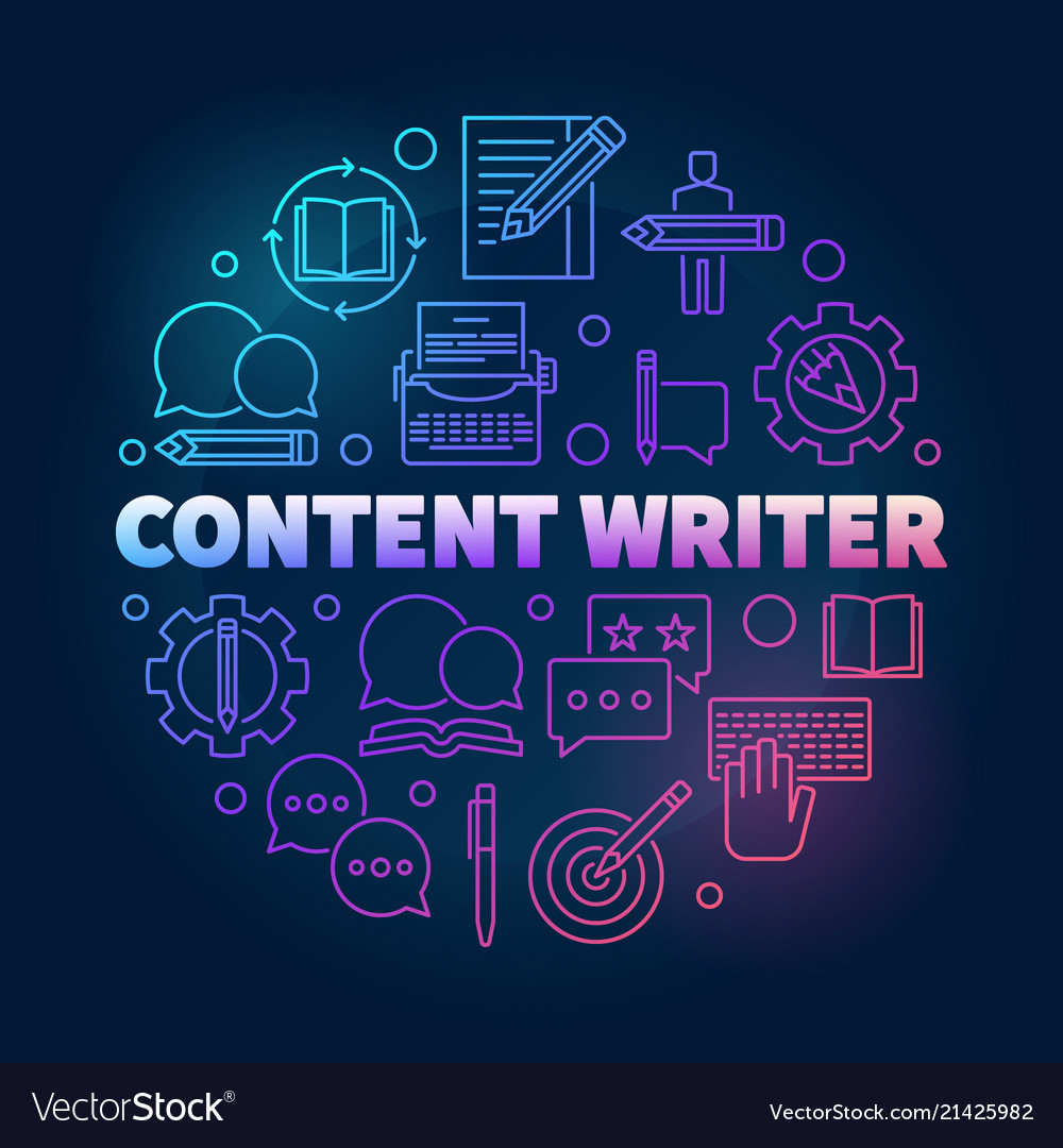 Content writer colored round line