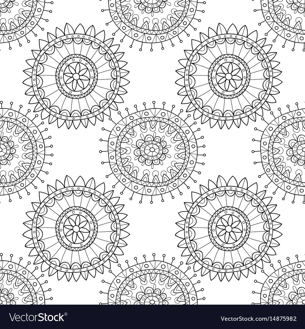 Decorative black and white seamless pattern for