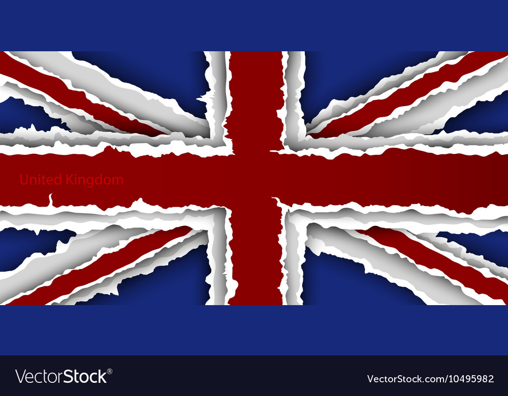 Design flag united kingdom from torn papers with vector image