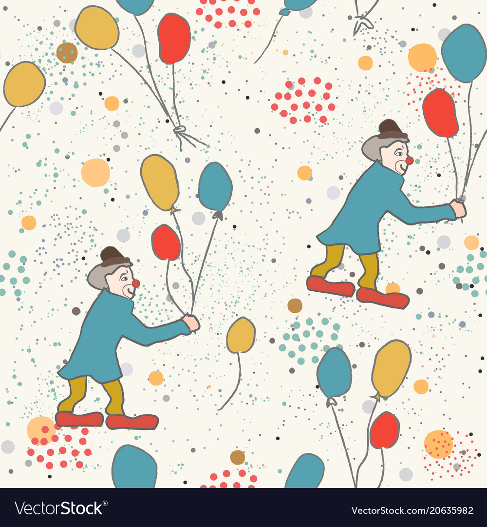 Hand drawn seamless pattern with clown and
