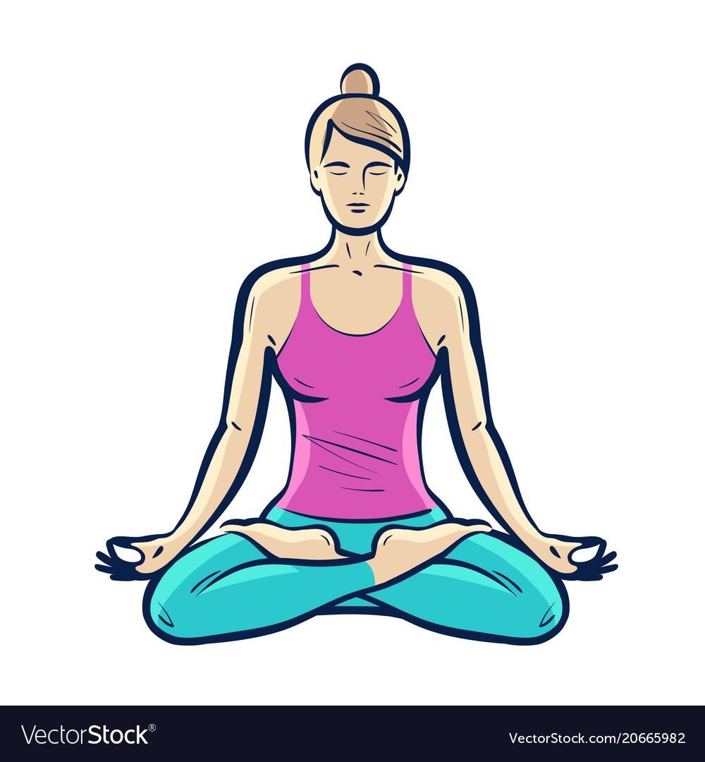 Happy girl sitting in lotus pose yoga fitness