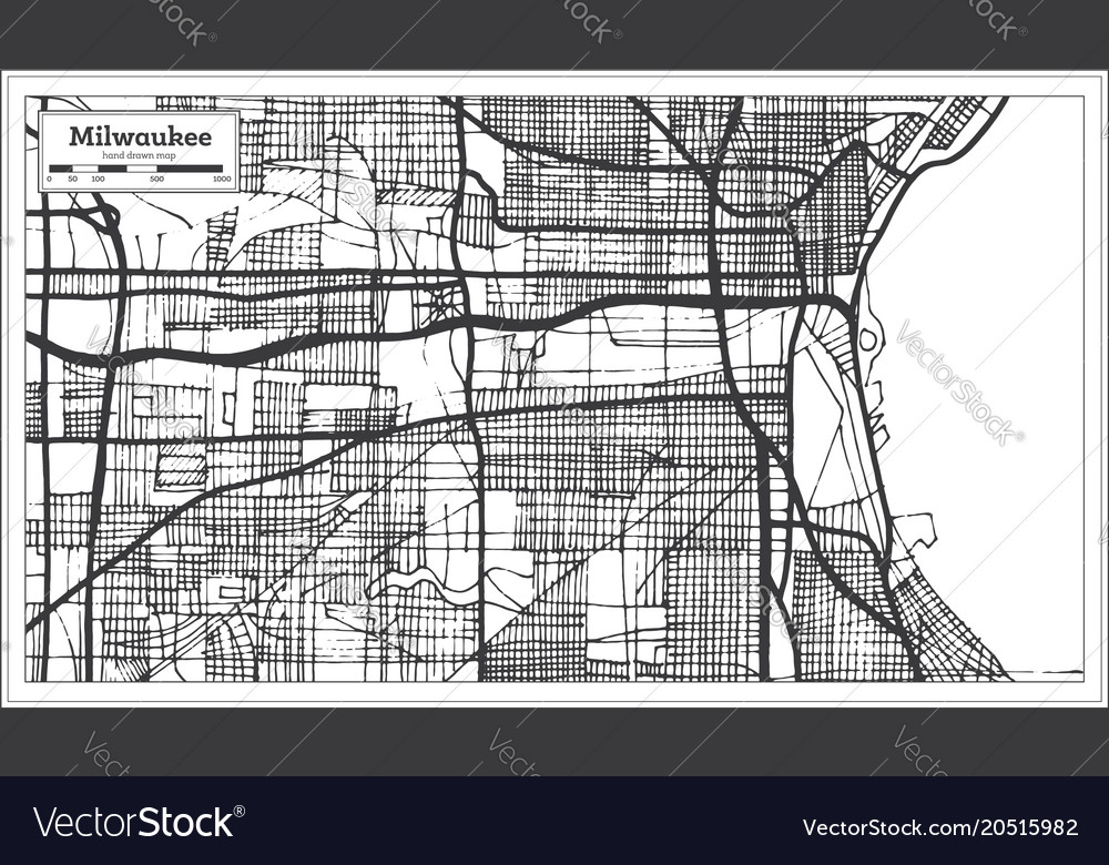 Milwaukee Wisconsin Usa City Map In Retro Style Vector Image