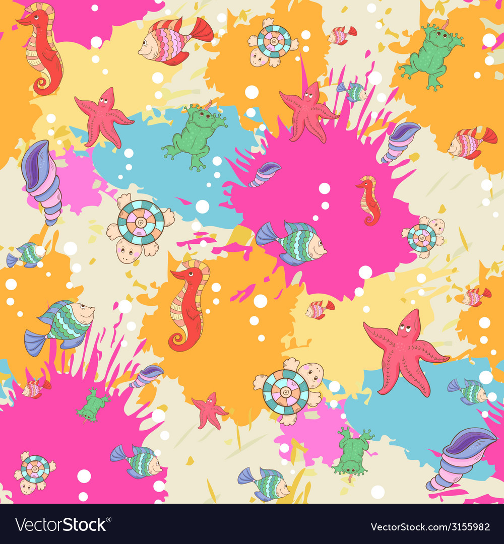 Pattern sea life on the blots ink background