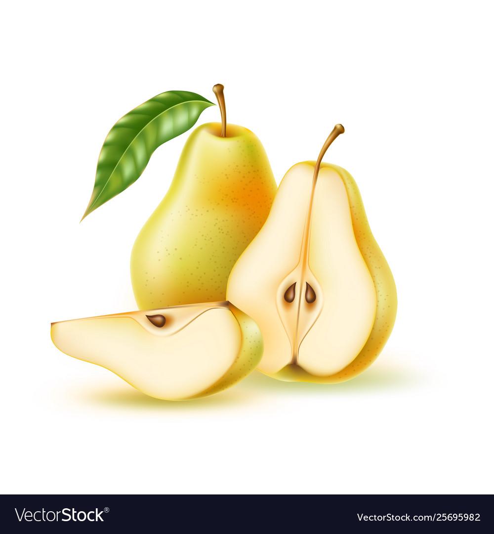 Realistic fresh pear with leaf green fruit