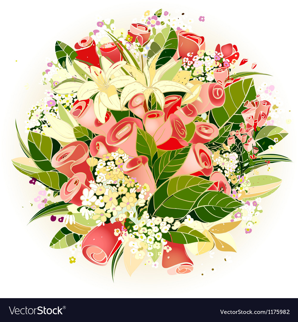 Roses And Lily Flowers Bunch Royalty Free Vector Image