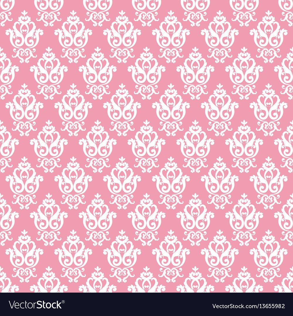 Seamless damask pattern pink texture in vintage
