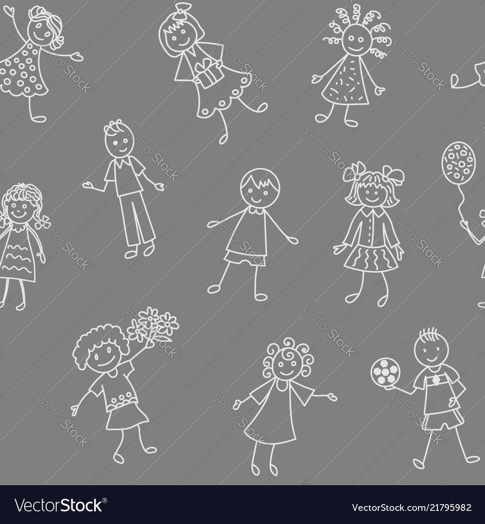 Seamless pattern of happy smiling children