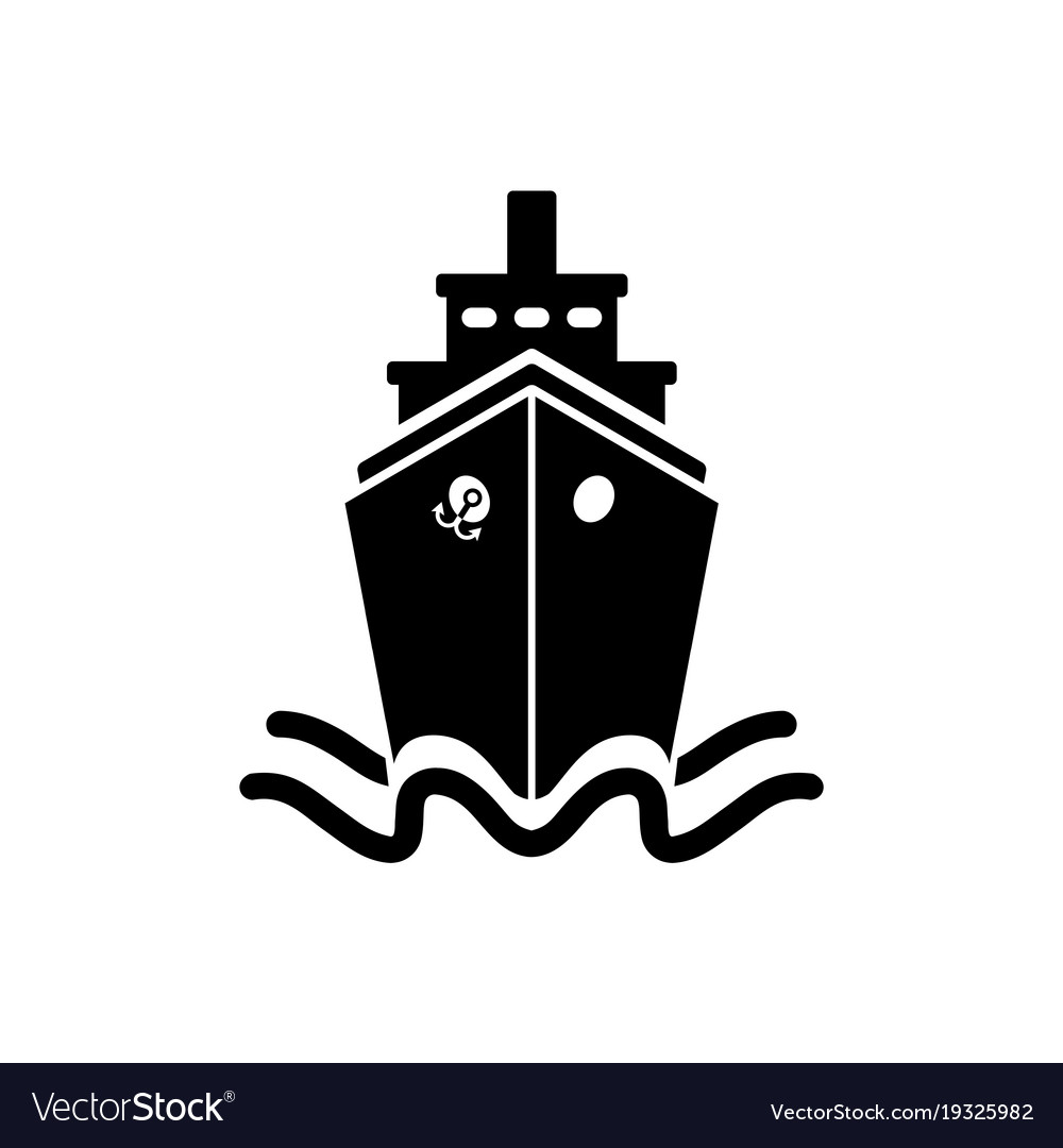 Ship icon in flat style black pictogram on white vector image