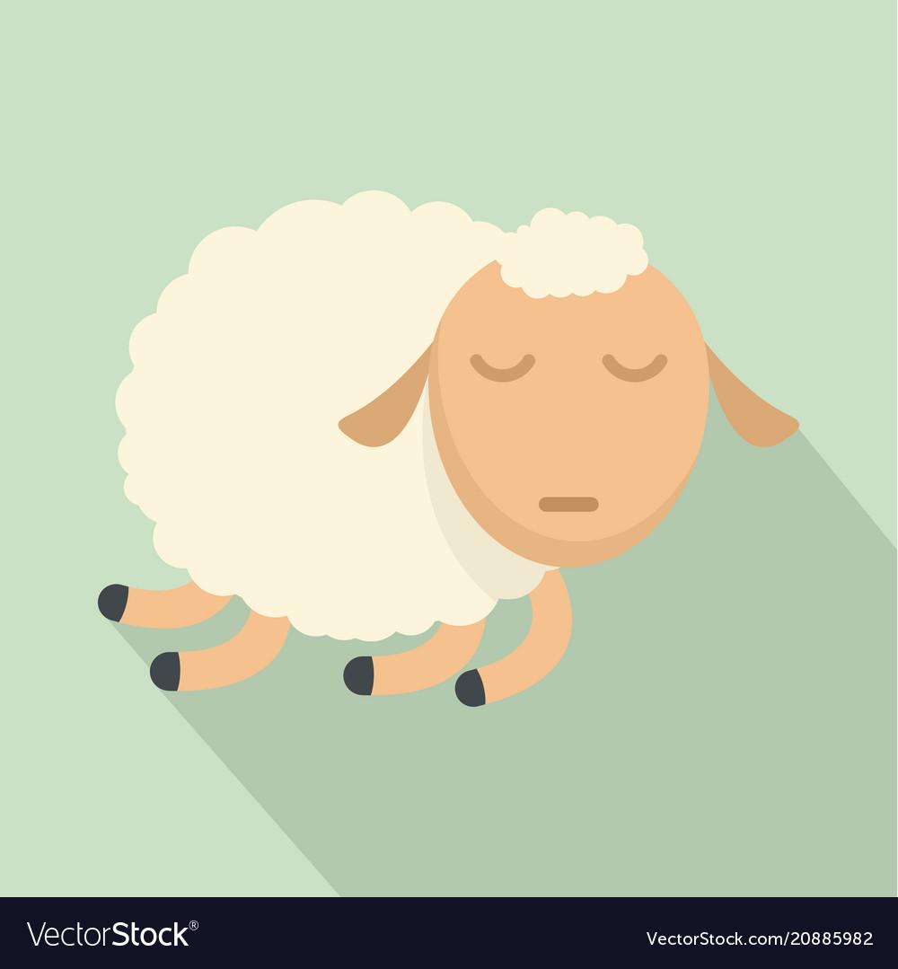 Sleeping sheep icon flat style