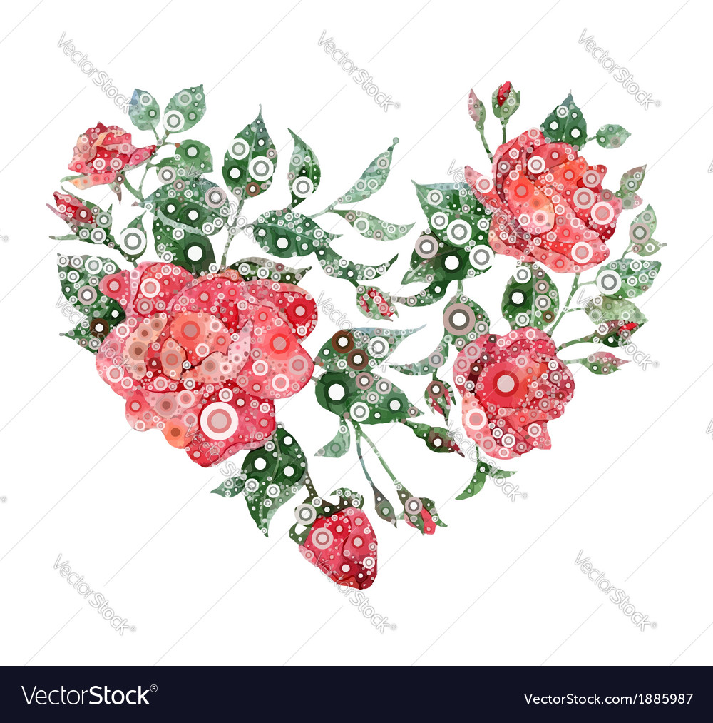 Abstract heart of roses vector image