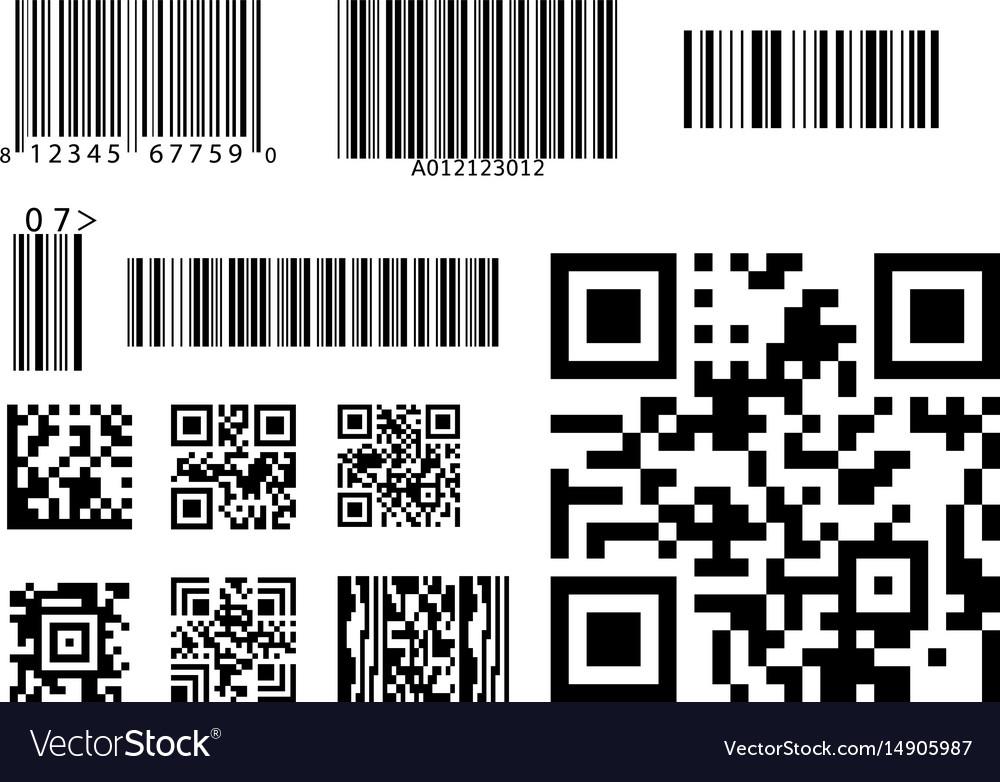 Bar code icon qr code symbol