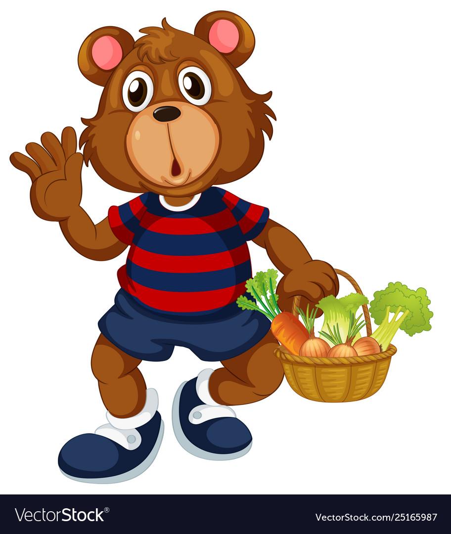 Bear holding basket vegetable