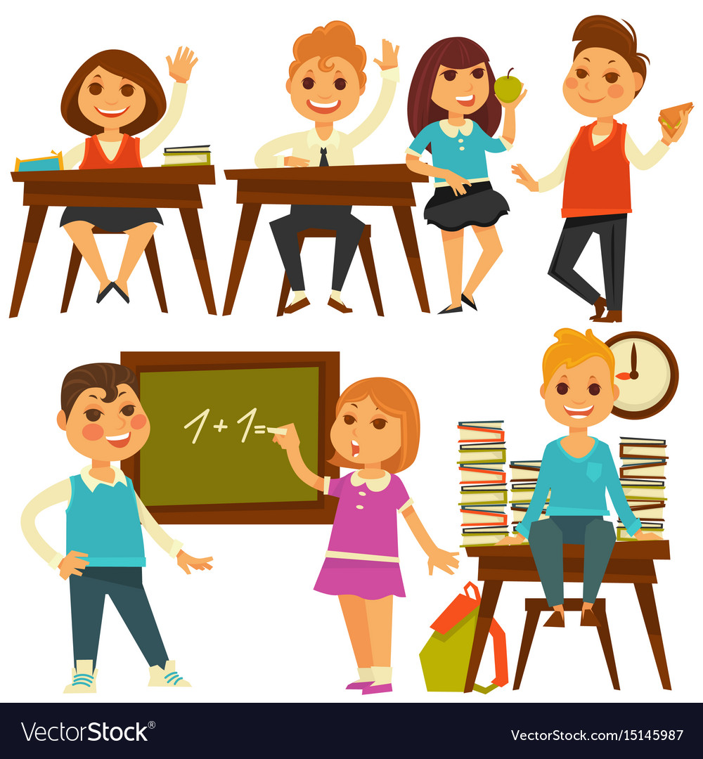 Children in school study at lessons flat